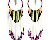 Neon Orange Yellow Pink Black Seed Beaded Fringe Feather Porcupine Quill Hoop Earrings-Sale