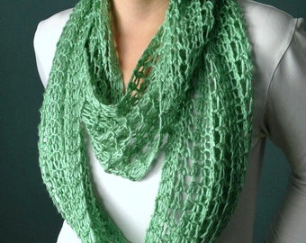 Spearmint Green Infinity Scarf Hand Knit Lacy Open Weave Light Weight Circle Loop Fashion Scarf