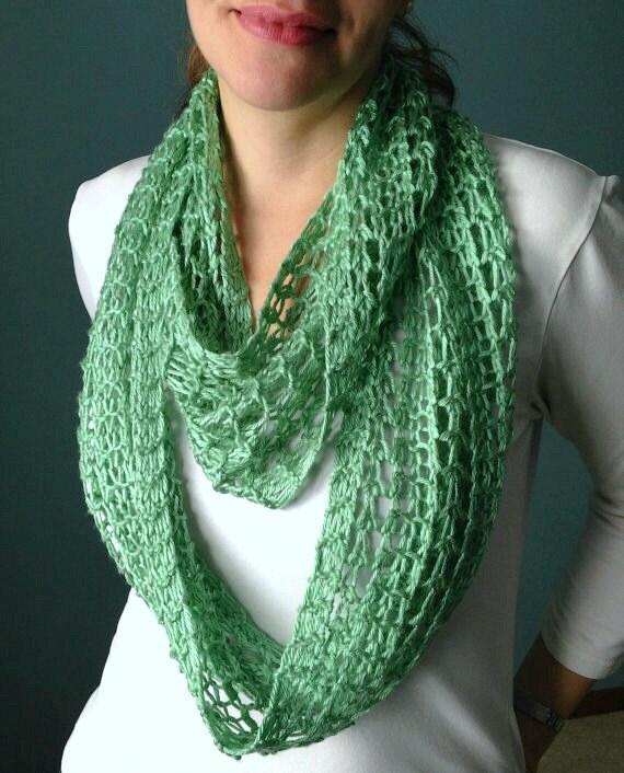 Spearmint Green Infinity Scarf Hand Knit Lacy Open Weave Light