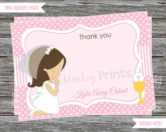 DIY - Girl First Communion Thank you Card # 295 - Coordinating Items Available