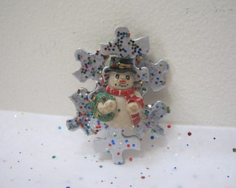 Christmas Snowman Puzzle Brooch Holiday Jewelry Accessories Woman Teen For Her Gift Idea