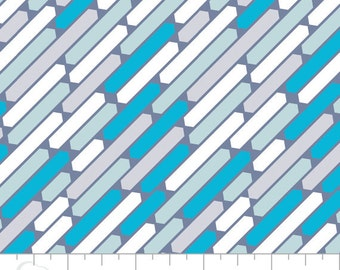 Cascade in Topaz geometric fabric - Pastel Me More by Camelot - 16 inch REMNANT - modern fabric, blue stripe, grey stripe, striped fabric