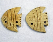 "6 Pieces 1.4"" Large Decorative Fish Wooden Buttons Decorative Fish"
