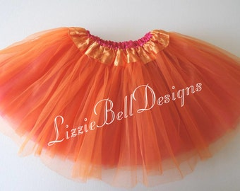 "Orange / Hot Pink Reversible Ballet Tutu Two Tone Skirt  / Waist Stretch 14-24"" / Child Toddler Costume Photo Prop Soft Tulle"