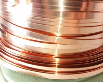 "28 gauge copper bezel strip wire - 1/8"" Wide -  dead soft, cabochon bezel strip, choose your length from 3' on up."