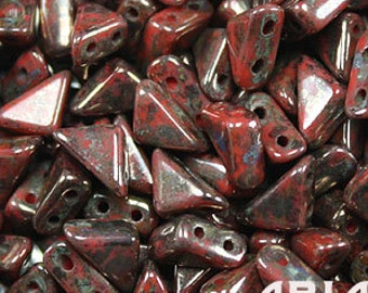 CORAL RED BRONZE Picasso: 6x6mm Tango Two-Hole Triangle Czech Glass Beads (10 grams)
