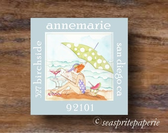 Personalized return address label/sticker/ Girl on beach/drinking margarita/reading book