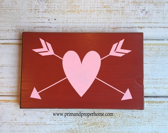 Heart and Arrows - Hand Painted Sign