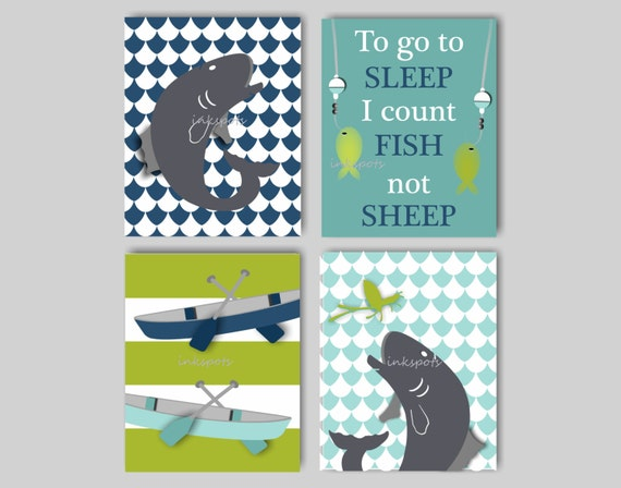 Baby Boy Nursery Art Fly Fishing Bedding Decor Fish
