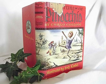 Vintage Book Pinocchio Storybook 1940s Book Illustrated Book Bedtime Story Childrens Fiction Italian Puppet Boy Teaching Book Junior Library
