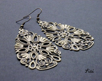 Drop earrings bronze filigree