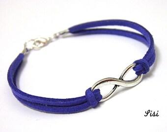 Electric blue velvet infinite Bracelet