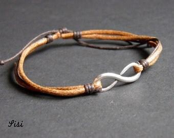 Silver bracelet brown cotton cord infinity