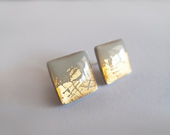 Gray with 23k Gold Square Stud Earrings