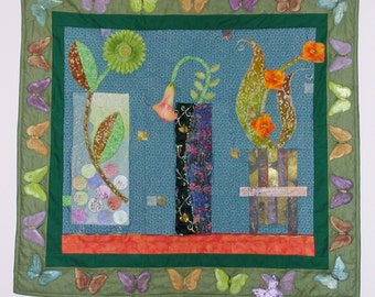 Art Quilt Wall Hanging, Decorative Fabric Wall Art, Flower Vases Appliqued Quilt, Made to Order Custom Wall Quilt