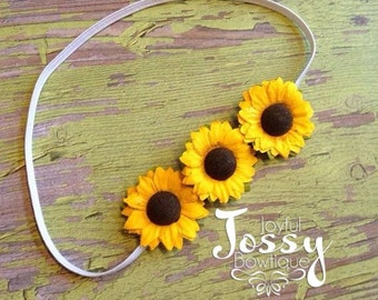 Sunflower headband, flower headband, summer headband, newborn headband, toddler headband, baby girl headband, adult headband, teen headband