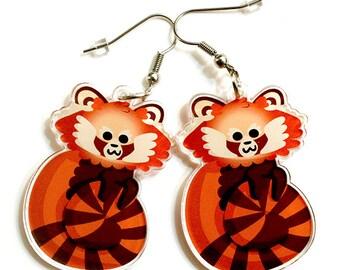 Cute Red Panda, Red Panda Earrings, Animal Lovers, Fun Jewelry, surgical steel, panda, cute animals, quirky accessories