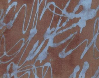 RIVERWOODS Third in Line Blue Brown Script by Marcia Derse 1 yard OOP Fabric BTY