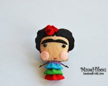 Handmade Eco Friendly Brooch / Magnet / Ornament - Felt Brooch / Magnet / Ornament - Frida Kahlo