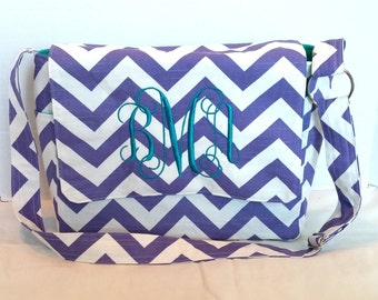 Messenger Bag, school bag for kids, diaper bag embroidered; purple chevron with teal/turquoise lining