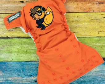 One size pocket / Autumn Hipster Ducky embroidery / cloth diaper / snaps / Little Beasties / adjustable elastic & leg gussets
