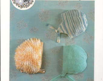 Knitting  Patern Baby Hats 3 Styles  dk   INSTANT DOWNLOAD PDF