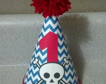 Skull cross bone theme first birthday or any age party hat party supplies