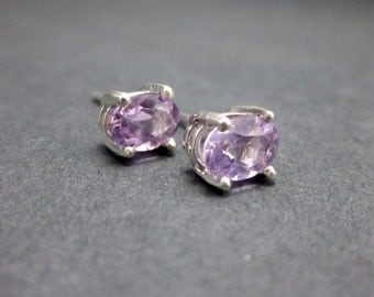 Amethyst Earrings - Amethyst and Sterling Silver Studs