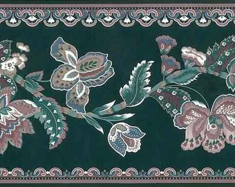 Green, Mauve PAISLEY Wallpaper Border Floral Pattern with White & Dark Green by Fine Color SWB11304 Sharrow Bay Scalloped Swirls