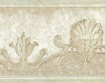 Cream Ivory SHELLS Wallpaper Border Nautical Scrolls Pearlized Textured UK Neks Studio 77887