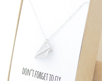 Silver Paper Airplane Necklace - Harry Styles Necklace - One Direction - Don't Forget to Fly - Silver Paper Plane - Airplane Charm