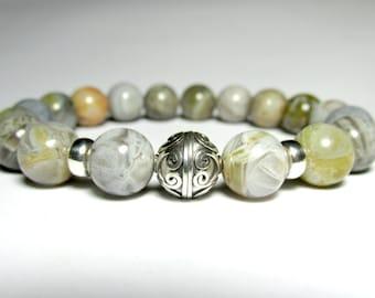 Bamboo Agate Bracelet, Beaded Bracelet, Womens Jewelry, Sterling Silver Jewelry, Girlfriend Gift, Birthday Gift