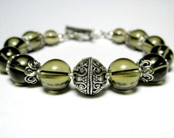 Smoky Quartz Sterling Silver Bracelet, Bali Silver Bracelet, Smoky Quartz Beaded Bracelet, Smoky Quartz Silver Beaded Bracelet