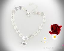 Loveheart Bracelet, Silver Disc Bracelet, Silver Heart Charm