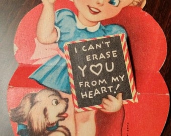 Vintage Valentine , Girl and a Spaniel Puppy