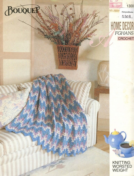 Crochet Patterns By Yarn Weight : CROCHET AFGHAN PATTERN - Worsted Weight Yarn - 49 x 52 (124.5 x 1...