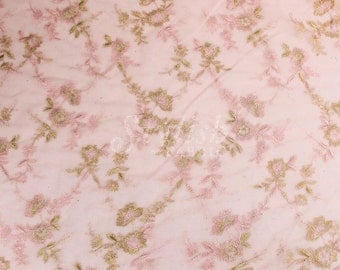Pink Embroidered Double Scallop Edge Lace Fabric by the yard - 1 Yard style 2411