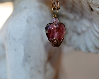 Purple and Silver Foil Venetian Murano Glass Heart Pendant ~ Dainty Heart Necklace ~ Vintaj Brass Filigree ~ Lead and Nickel Free Chain