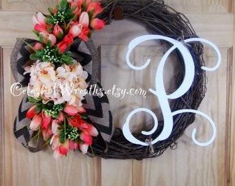 spring wreath - hydrangea wreath - monogram wreath - wreaths - mothers day - easter wreath - summer wreath