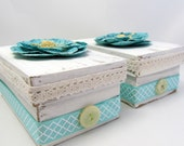 Small Keepsake Box - Ivory and Turquoise Box - Gift Box - Shabby Chic Box - Turquoise Flower - Altered Box - Rustic - Yellow Accents