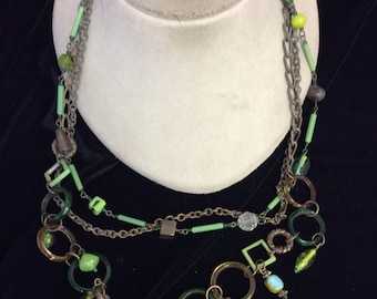 Vintage Long Shades Of Green & Brown Glass Necklace