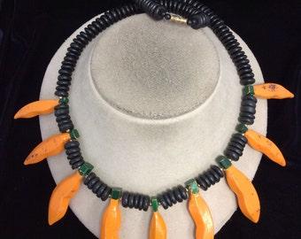 Vintage Chunky Black Orange Dyed Wooden Necklace