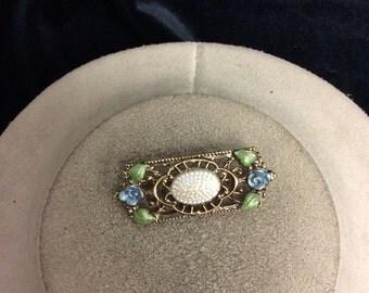 Vintage Floral Enameled Pealized Pin