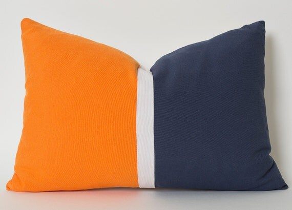 Navy Blue And Orange Throw Pillows : Navy Blue Orange White Linen Color Block Solid Pillow by pillowme