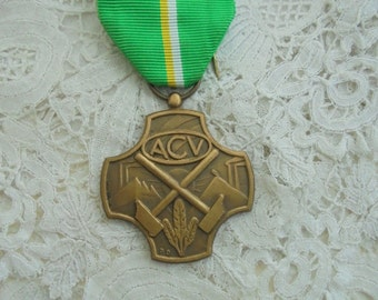 Vintage medal with ribbon