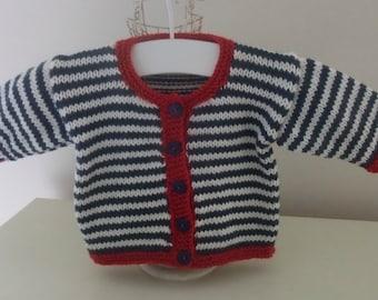 "Knitting Pattern For  ""Nautical"" Baby Cardigan"