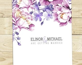 Lavender Floral Wedding Invitation Printable DIY