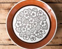 plate gefle agneta sweden collection flowers studio pottery scandinavian mid century retro vintage
