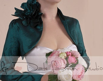 Plus Size   Dark emerald green taffeta bridal shrug / long sleeve /  wedding bolero