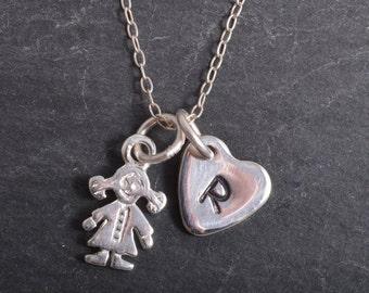 Sterling Silver little girl with personalised heart charm necklace 925 baby girl celebration